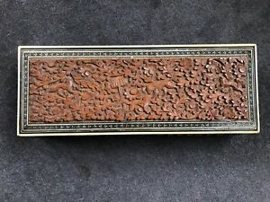 Antique Anglo Indian Carved Sandalwood And Sadeli Box1890