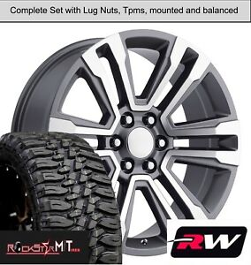 20 X9 Wheels And Tires For Chevy Silverado Replica 5822 Gunmetal Machined Rims