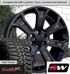 20 X9 Wheels And M T Tires For Chevy Silverado Replica 5665 Gloss Black Rims