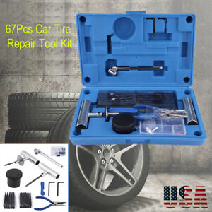 Heavy Duty Tire Repair Kit 67pc Set For Motorcycle Atv Jeep Truc