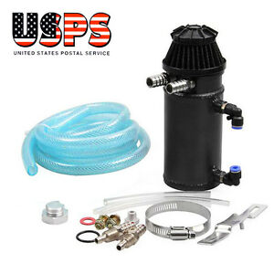 Black Oil Reservoir Catch Can Tank Kit Breather Filter Baffled Aluminum Usa Ship