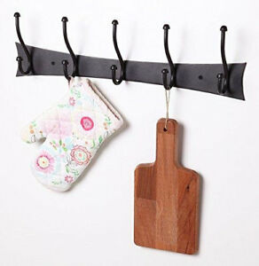 Decorative Wrought Iron 5 Hooks Coat And Hat Rack Hanger Wall Mounted Rack