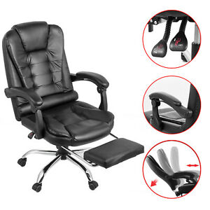 Executive Reclining Office Chair High Back Recliner Swivel W Footrest Armchair
