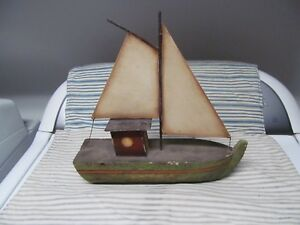 Antique Hand Carved 2 Mast Wooden Sailboat
