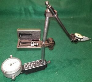 Mighty Mag Base With Two Federal Dial Indicators Nice Free Usa Shipping