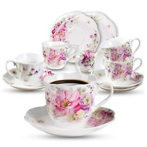 Bone China Tea Cups And Saucers Porcelain Cups Serving Dishes Rose Painting New