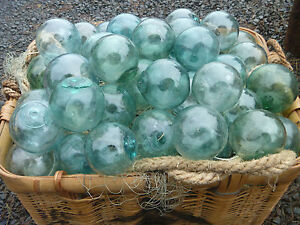 Japanese Glass Fishing Floats 3 3 5 Lot 5 Round Net Buoy Balls Authentic Vntg