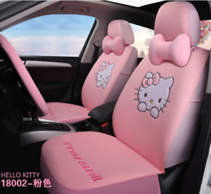 Cute Pink Ice Silk Hello Kitty Car Seat Covers Full Set