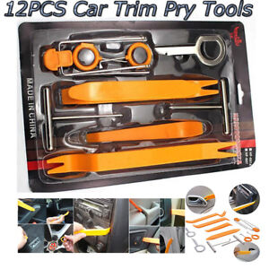 12pcs Car Door Clip Panel Dash Radio Moulding Audio Removal Pry Trim Tools Kit
