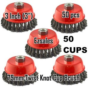 50 New Wire Cup Brush 3 75mm For 4 1 2 115mm Angle Grinder Twist Knot