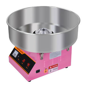 New Pink Cotton Candy Machine 20 Stainless Steel Bowl Diy Floss Maker 110v
