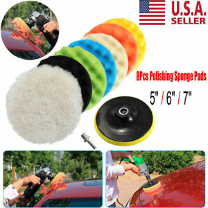 5 6 7 Polishing Waxing Buffing Sponge Pads Kit Compound Car Polisher 8pcs Usa