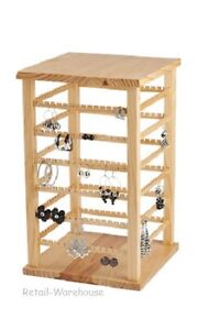 Wood Earring Display Rotating Rack Countertop 168 Pair 9 3 8 X 9 3 8 X 16 3 8