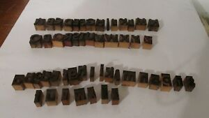 Vintage Letterpress Wood Type Alphabet Letters Capitol And Lower Case Wood Block