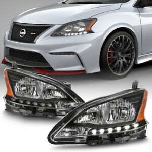 For 13 15 Nissan Sentra Black Clear Housing led Drl Headlight Lamp Assembly
