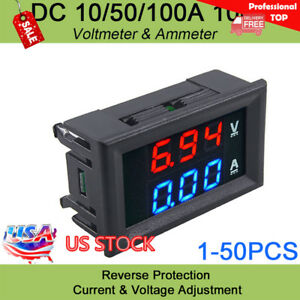 Pro Voltmeter Dc 100v Ammeter 10a 50a 100a Dual Led Digital Voltage Amp Power Us