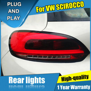 For Vw Scirocco Dark Red Led Rear Lamps Assembly Led Tail Lights 2009 2014