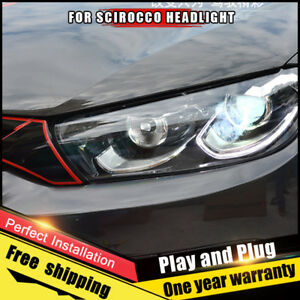 For Vw Scirocco Headlights Assembly Bi Xenon Lens Double Beam Hid Kit 2009 2015