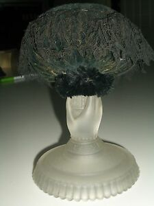 Antique Early 20th Century Black Velvet Make Do Pincushion On Candlestick
