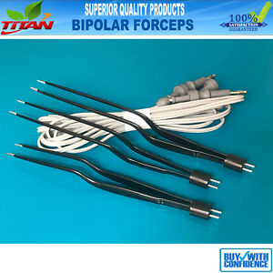 Bipolar Bayonet Forceps Non Stick Electrosurgical Forceps 1mm Tip