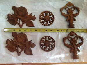 Antique Decorative Wrought Iron Architectural Rosettes Circletes Finials Rusty