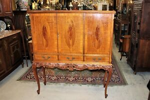 Burl Walnut Ball Claw Antique Cocktail Cabinet Bar Living Room Furniture