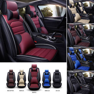 Universal Pu Leather Seat Covers Set Luxury Car 5 sit Front Rear Car Accessories