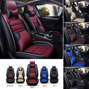 Universal Car Auto Seat Covers Deluxe Front Rear Pu Leather Cushion Full Set Us