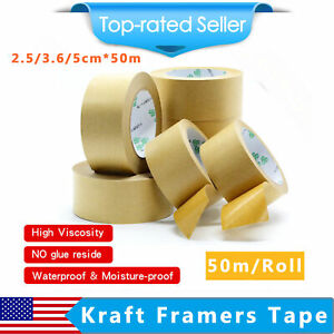 Kraft Framers Tape Brown Paper Self Adhesive Picture Framing Backing Tape 50m