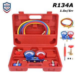 New R134a Hvac A c Dual Manifold Gauges Valve Set With Red Plastic Case Us Stock