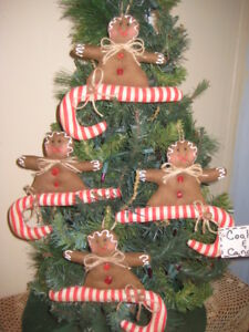 4 Gingerbread Sewn On Red Stripe Candy Canes Ornaments Country Christmas Decor