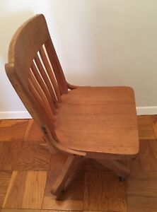 Antique Heywood Wakefield Golden Oak Swivel Desk Chair With Original Label