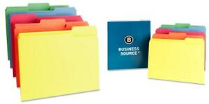 Business Source 1 ply Color coding File Folders Letter Assorted