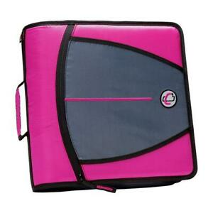 Case it Mighty Zip Tab 3 inch Zipper Binder Magenta Single Magenta