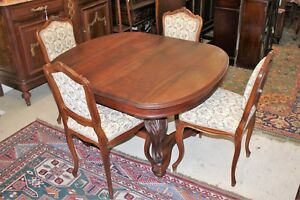 French Antique Louis Xv Walnut Kitchen Dining Table Set Of 4 Chairs