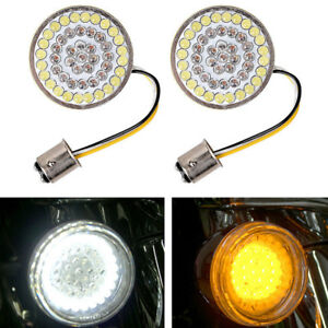 Dual Color Amber White Led Turn Signal Cluster Bulbs Inserts 1157 For Harley