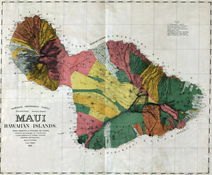 1885 Map Of Maui Hawaiian Islands