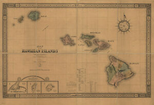1876 Map Of The Hawaiian Islands