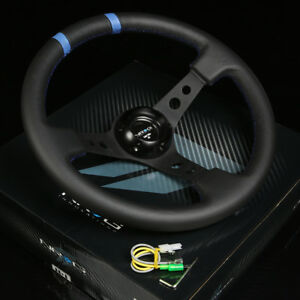 Nrg 350mm 3 Deep Dish 6 Holes Leather Steering Wheel Black Spokes Double Mark