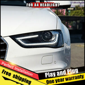 For Audi A4 Headlights Assembly Bi Xenon Lens Double Beam Hid Kit 2013 2016