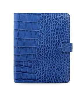 Filofax A5 Classic Croc Organiser Planner Diary Notebook Indigo Leather 026009