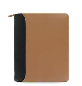 Filofax A5 Nappa Zip Organiser Planner Diary Book Taupe black Leather 025155
