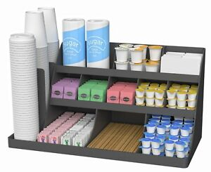 Coffee Supplies Condiment Organizer Rack Station Storage Caddy Office Break Room