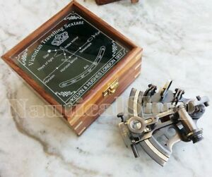 Nautical Brass Working Maritime Sextant 4 With Wooden Box Decor Style New Gift