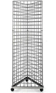 Wire Grid Triangle Tower Display Rack Casters Rolling Gray Steel 2 X 6 H