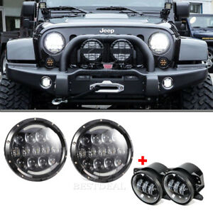4pcs Combo Led 7 Round Projector Headlight Assembly 4 Fog Light For Jeep Jk