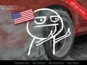 Cartoon Jdm Funny Middle Finger Vinyl Car Sticker Motorcycle Decal Plus Usa Flag