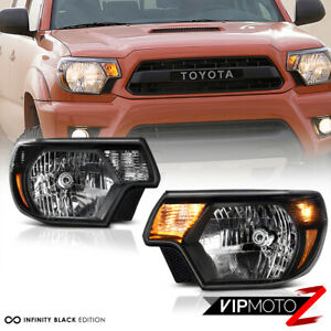 For 12 15 Toyota Tacoma Trd Style Black Housing Headlight Signal Lamp Assembly