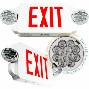 Led Exit Sign Emergency Light High Output Red Compact Combo Ul 924 Us