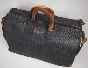 Antique Genuine Leather Initialed Doctors Bankers Lawyers Bag